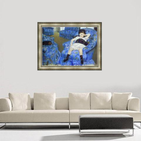 Little Girl In Blue Armchair Painting Original Price