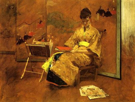 The Kimono painting, a William Merritt Chase paintings reproduction, we never sell The Kimono poster