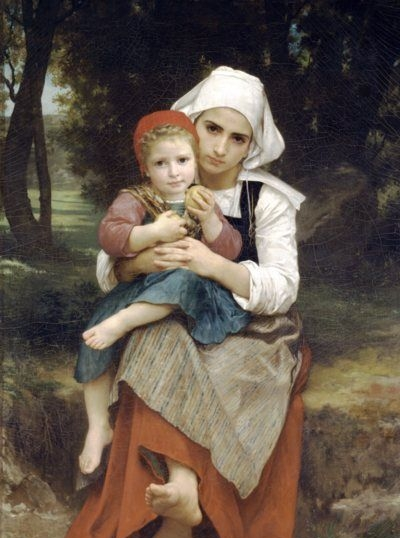 Breton Brother and Sister - Oil Painting Reproduction