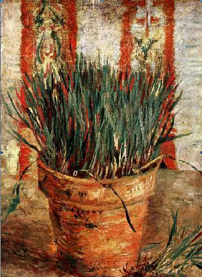 Flowerpot with Chives painting, a vincent van gogh paintings reproduction