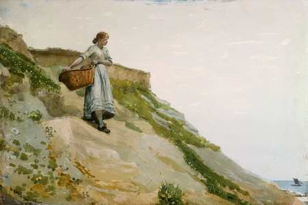 Girl carrying a basket painting, a Winslow homer paintings reproduction, we never sell Girl carrying