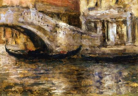 Gondolas along Venetian Canal painting, a William Merritt Chase paintings reproduction, we never