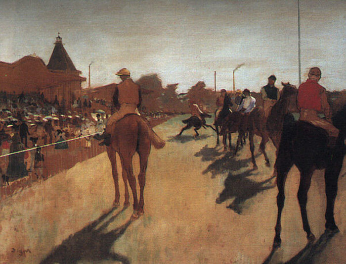 Oil Painting Reproduction of Degas- Racehorses in Front of the Grandstand