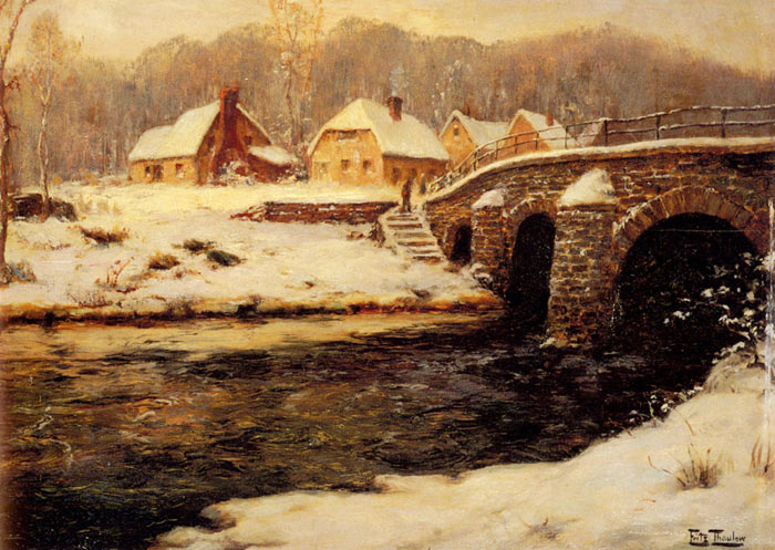 Oil Painting Reproduction of Frits Thaulou - A Stone Bridge Over A Stream In Winter