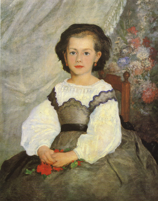Oil Painting Reproduction of Renoir- Little Miss Romain Lacaux