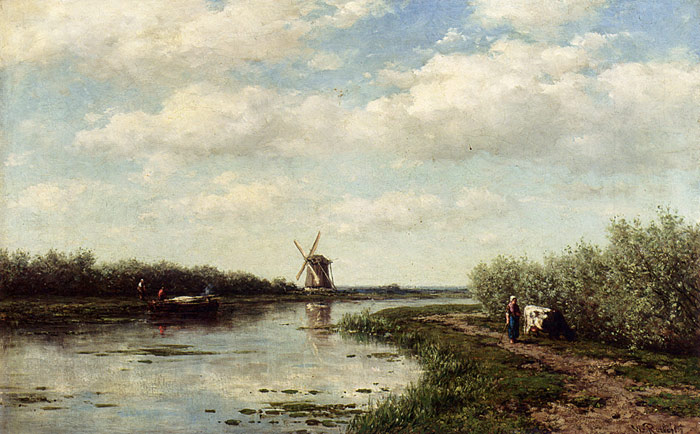 Oil Painting Reproduction of Roelofs- Figures On A Country Road Along A Waterway