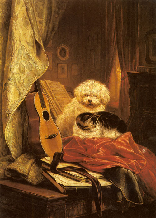 Oil Painting Reproduction of Ronner-Knip- Best Friends