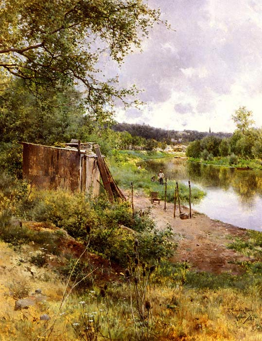 Oil Painting Reproduction of Sanchez-Perrier - On The River Bank