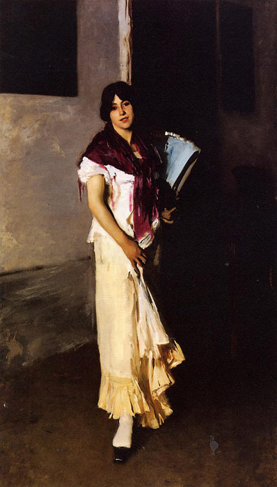 Oil Painting Reproduction of Sargent - Italian Girl with Fan aka Venetian Girl with a Fan