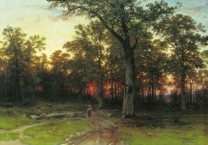 Oil Painting Reproduction of Shishkin - Evening in the Forest