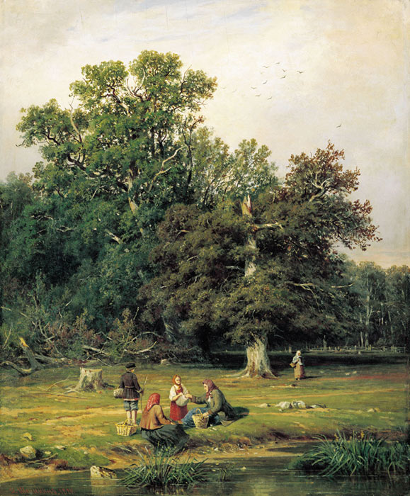 Oil Painting Reproduction of Shishkin - Mushroom Hunting (Gathering Mushrooms)