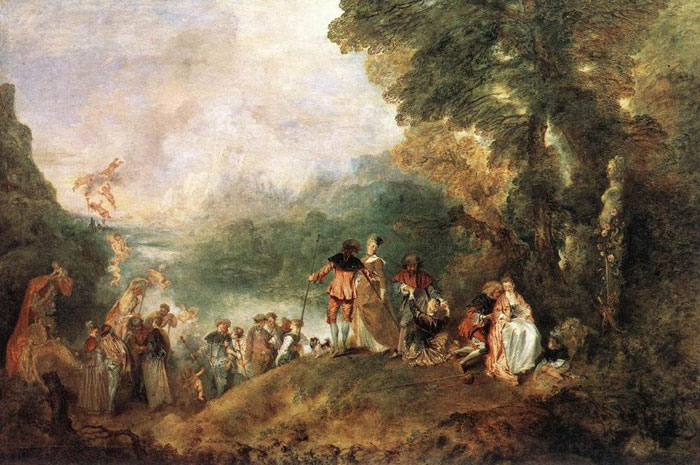 Oil Painting Reproduction of Watteau- The Embarkation for Cythera