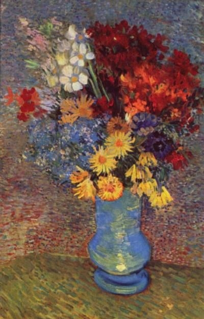Vase with Daisies and Anemones - Oil Painting Reproduction