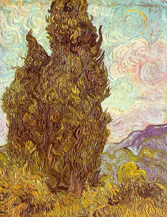 Vincent van Gogh Oil Painting Reproductions- Two Cypresses