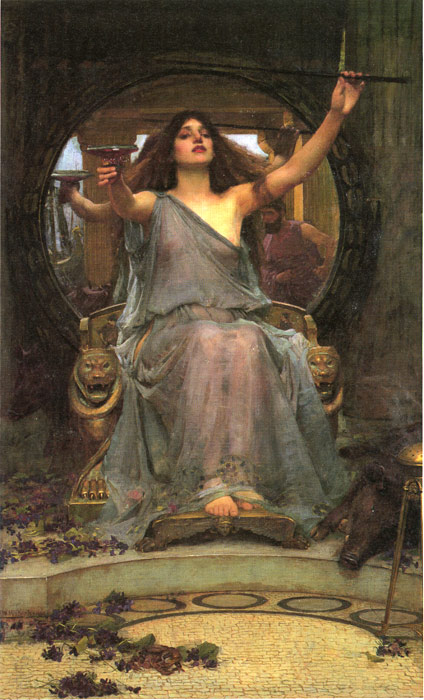 Waterhouse Oil Painting Reproductions - Circe offering the Cup to Ulysses
