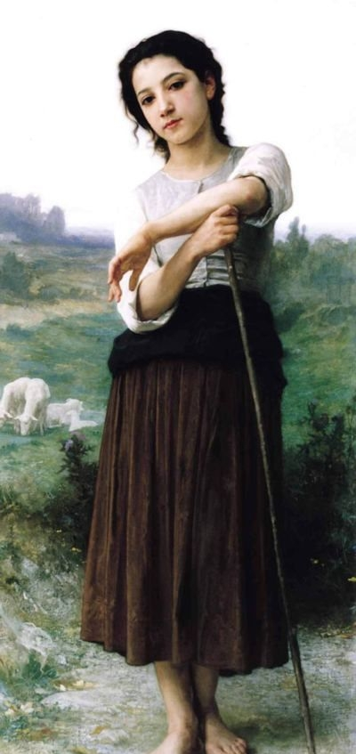 Young Shepherdess Standing - Oil Painting Reproduction