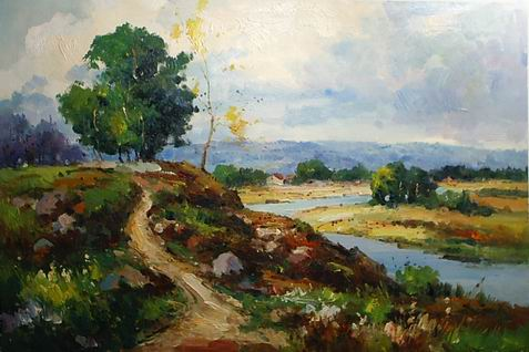 hometown painting, a palette knife paintings reproduction