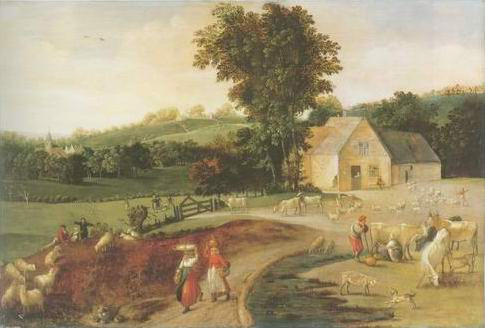 landscape with peasants painting