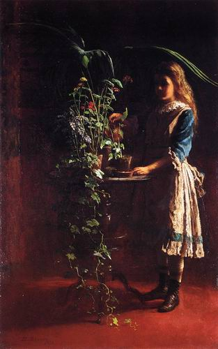 watering flower painting, a Eastman Johnson paintings reproduction, we never sell watering flower