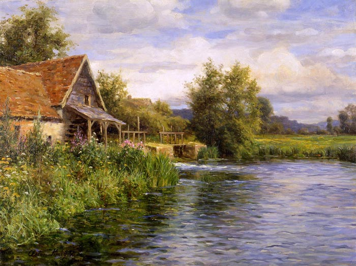 Knight Oil Painting Reproductions - Cottage by the River