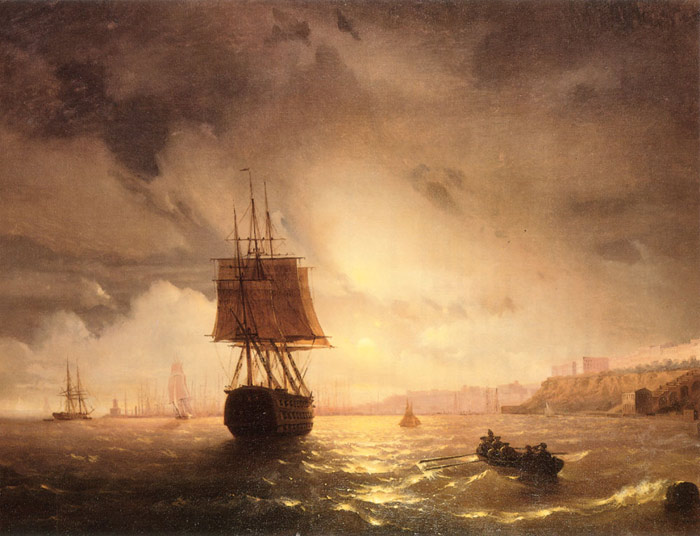 Aivazovsky Oil Painting Reproductions - The Harbor At Odessa