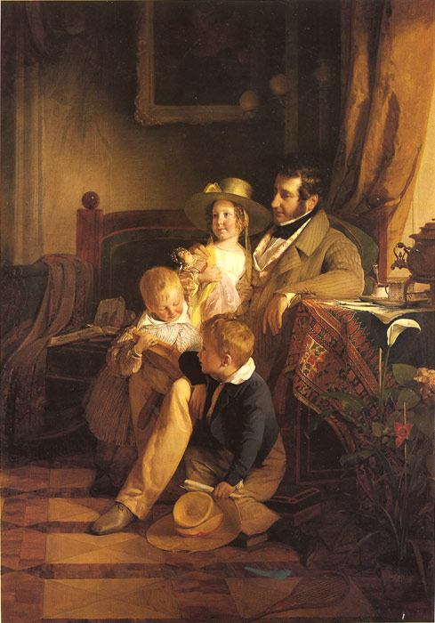 Amerling Oil Painting Reproductions - Rudolf von Arthaber with his Children