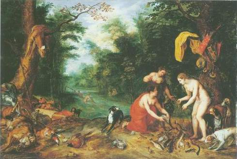 Diana and her nymphs inspecting their catch after painting, a Jan Breughel II paintings