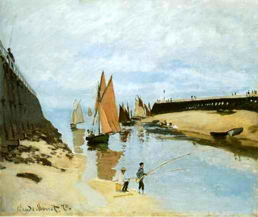 Entrance to the Port of Trouville,1870 painting, a Claude Monet paintings reproduction, we never