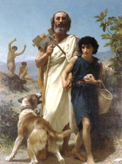 Homer and his Guide - Oil Painting Reproduction