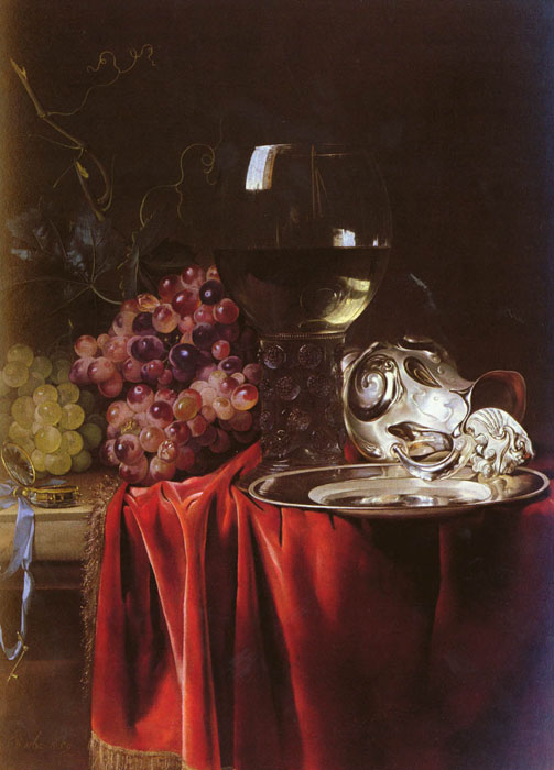 a still life oil painting of grapes