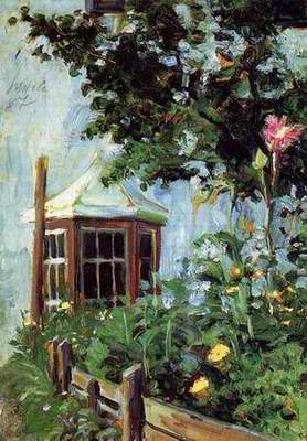 House with a Bay Window in the Garden painting