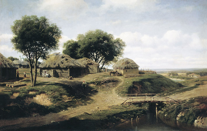 Oil Painting Reproduction of Klodt - A Viilage in the Province