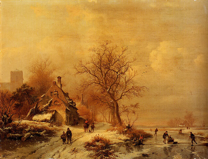 Oil Painting Reproduction of Kruseman- Figures In A Frozen Winter Landscape