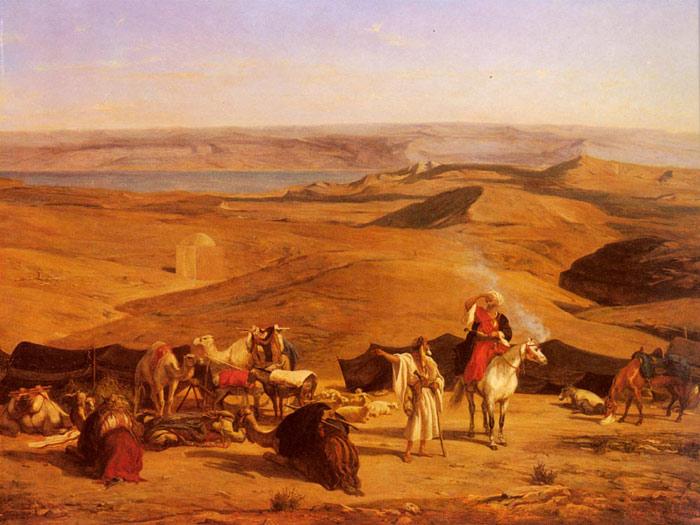 Oil Painting Reproduction Of Pasini The Desert Encampment
