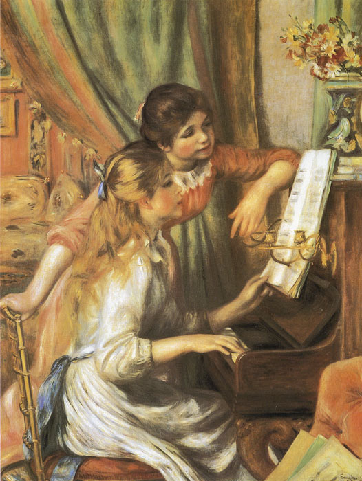 Oil Painting Reproduction of Renoir- Girls at the Piano
