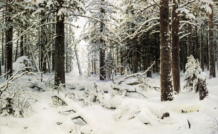 Oil Painting Reproduction of Shishkin - Winter