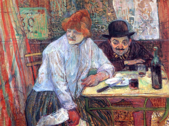 Oil Painting Reproduction of Toulouse- Lautrec- AT the Cafe La Mie