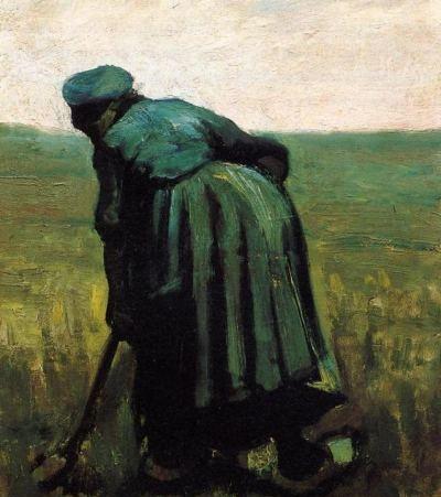 Peasant Woman Digging - Oil Painting Reproduction