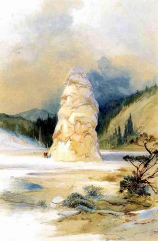The Hot Springs of Gardiners River, Extinct Geyser painting, a Thomas Moran paintings reproduction,