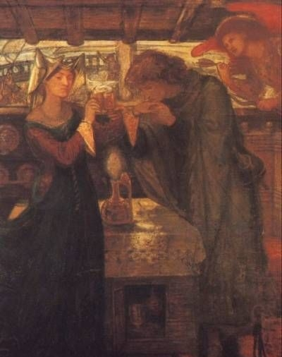 Tristram and Isolde Drinking the Love Potion - Oil Painting Reproduction