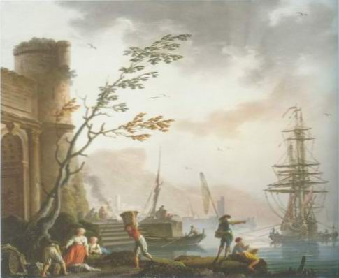 port with fishermen loading painting, a maseilles paintings reproduction, we never sell port with
