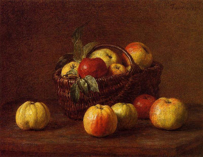 Fantin- Latour Oil Painting Reproductions- Apples in a Basket on a Table