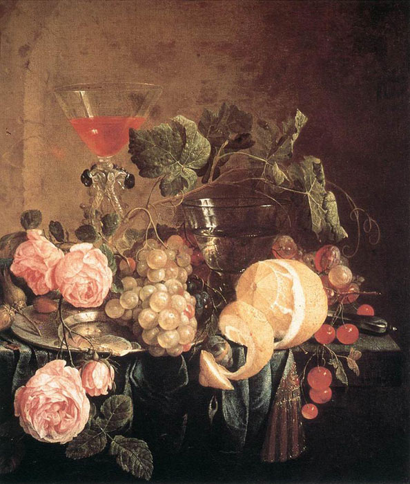 Oil Painting Reproduction of Heem- Still-Life with Flowers and Fruit