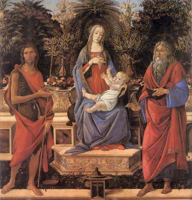 Virgin and Child Enthroned between Saint John the painting, a Sandro Botticelli paintings