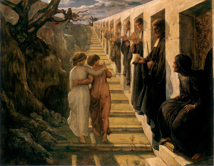 Oil Painting Reproduction of Janmot - The Poem of the Soul - The Wrong Path