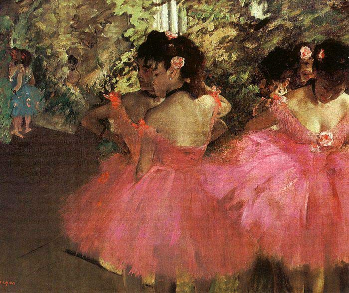 Degas Oil Painting Reproductions - Dancers in Pink