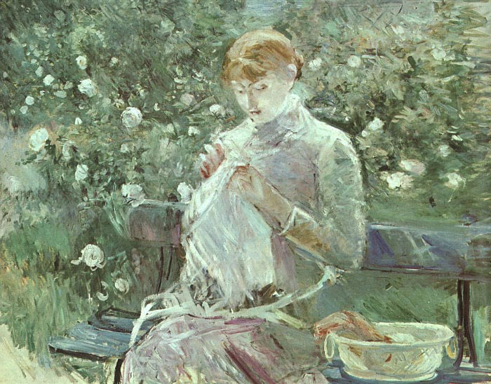 Oil Painting of young Woman Sewing in a Garden