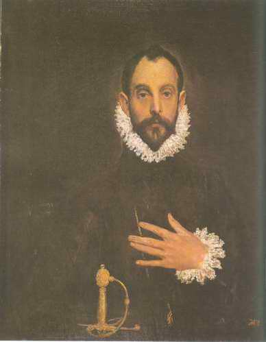 Portrait of a Nobleman with His Hand on His Chest painting, a El Greco paintings reproduction, we