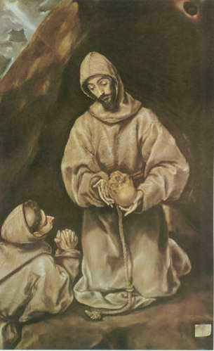 St. Francis and Brother Leo Meditating on Death painting, a El Greco paintings reproduction, we