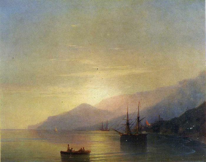 Aivazovsky Oil Painting Reproductions - Ships at Anchor